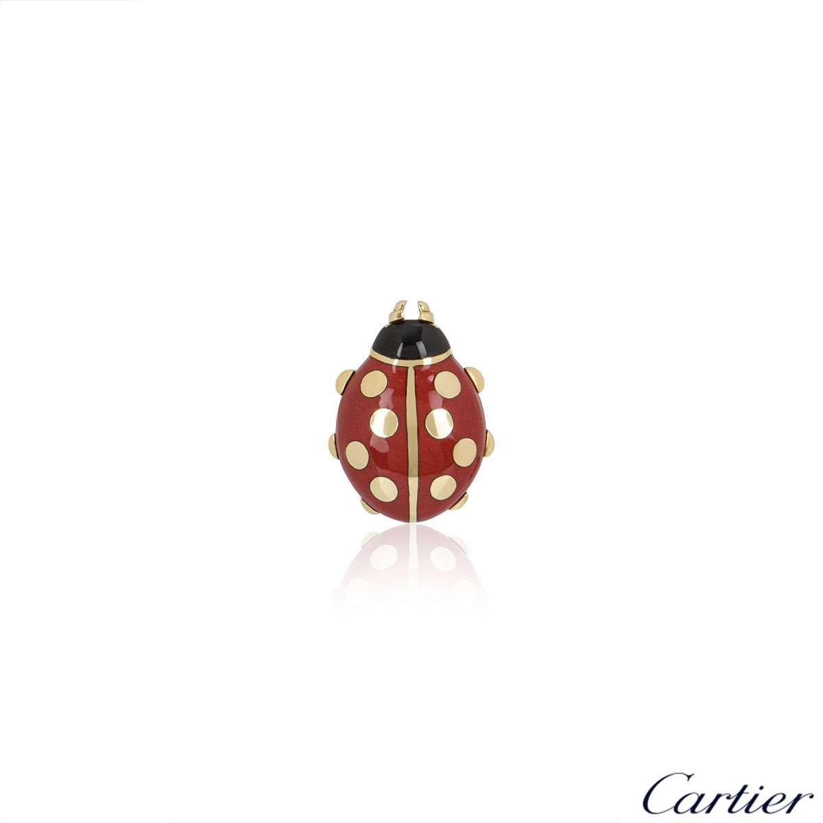 Cartier Yellow Gold Enamel Ladybird Pin